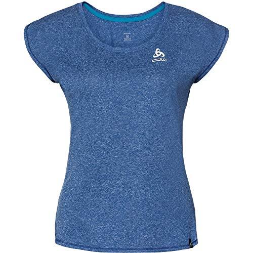 Odlo Damen BL TOP Crew Neck s/s HELLE Plain T-Shirt, Energy Blue Melange, L