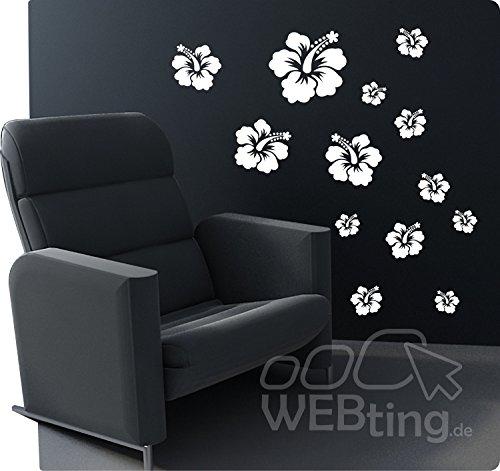 13pezzi fiore di ibisco Wall Sticker Adesivo Decorazione Floreale Cucina N. 4