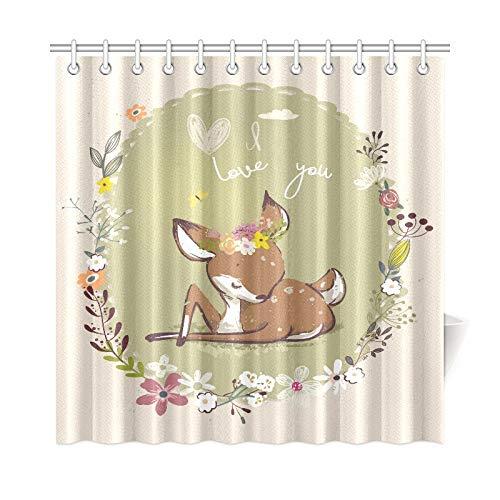 JOCHUAN Home Decor Bad Vorhang Cute Little Deer Mit Floral Kranz Polyester Stoff Wasserdicht Duschvorhang Für Badezimmer, 72 X 72 Zoll Duschvorhänge Haken Enthalten