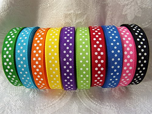 Swiss Dot Ribbon (Ripsband 3/20,3cm breit-Swiss Dot Vielzahl Menge-10tolle Farben-5auf je Farbe-50Meter insgesamt. Haar Bögen & Crafts)