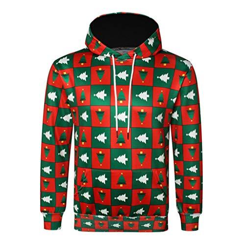 Uomo Felpa Tute 3D Pullover Stampa Spesse Natale Felpa Cappotto Manica Lunga Invernale Hoodie Giacca Gilet Felpa con Cappuccio Qinsling