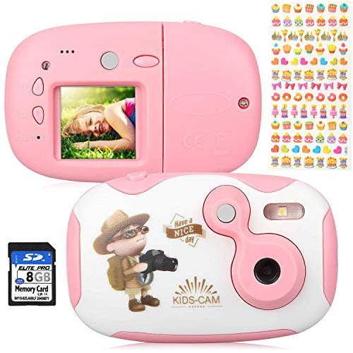 AGM Fotocamera per Bambini, Videocamera con Custodia Case Silicone 1.44 'Videocamera HD con Schermo Digitale per Bambini con Memory Card da 8 GB per Ragazze e Ragazzi (Rosa + Banca)