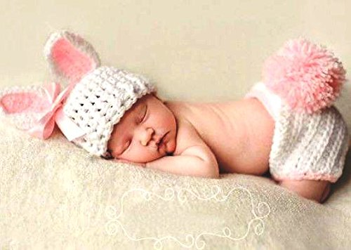 Swashh Baby White Pink Shorts With Hat Rabbit Crochet Clothing / Photography Props Best Baby shower Gift