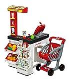 Smoby 350203 - Supermarkt mit Einkaufswagen, rot