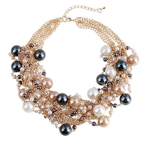 QIANDI Charm Jewelry Pendant Faux Pearl Choker Chunky Statement bib Necklace and Earrings Set Coffee