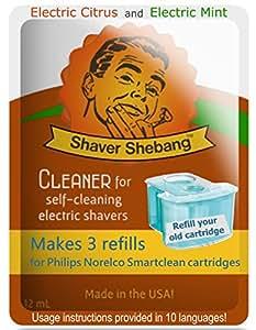 18 ricariche per cartucce Philips Norelco SmartClean - Agrumi e menta - 6 Shaver Shebang solución más limpia Shaver Shebang sostituzione di soluzioni per la pulizia SmartClean