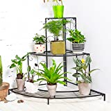 MALAYAS 3 Tiers Foldable Metal Plant Pot Stand Terrace Corner Flower Display Rack Display Shelf Indoor Outdoor Black