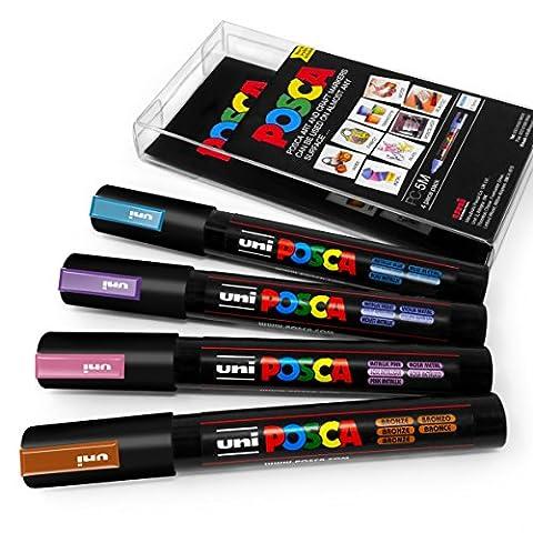 Posca Couleur Tones–PC-5M Art marqueur–Lot de 4–Portefeuille en plastique - Midnight Metallic