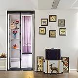 Kenmont Luxus Magnetvorhang für Türen Moskitonetz mit Magnetverschluss und Magnetstreifen, 100 x 210cm, Klettband Geschenk, Schwarz