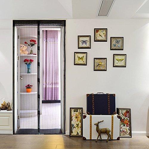 Kenmont lusso magnet tenda per porte zanzariera con chiusura magnetica e strisce magnetiche, 100x 210cm, nero, beige, velcro regalo