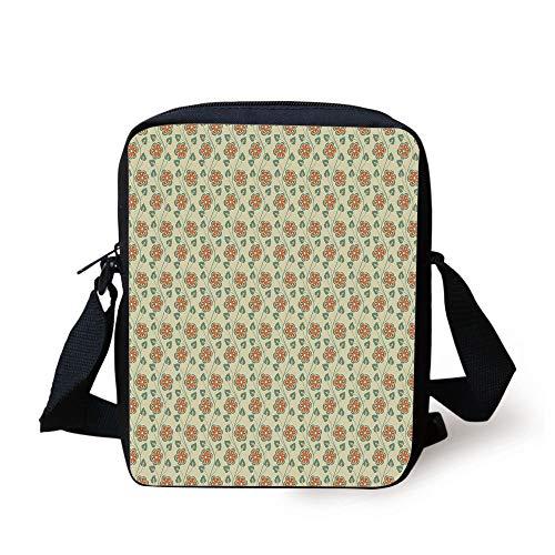 Floral,Flourishing Spring Flowers and Green Leaves Wavy Vertical Art Pattern,Cream Orange Jade Green Print Kids Crossbody Messenger Bag Purse - Orange Flower Body Cream