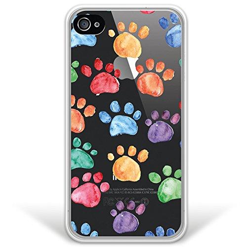 WoowCase iPhone 4 iPhone 4S Hülle, [Hybrid ] Handyhülle PC + Silikon für [ iPhone 4 iPhone 4S ] Hund Fußabdruck Handytasche Handy Cover Case Schutzhülle - Transparent (Hülle Silikon Hund Iphone 4s)