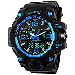 SKMEI Mens Sports Military Electronic Dual Time Calendar Analog Digital Back Light Wrist Watch Blue