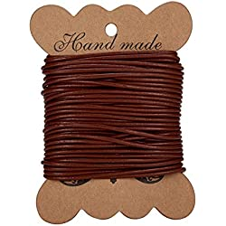 PandaHall Elite 1 Roll Cordon de cuero de vaca, cuero Jewelry Cord, joyeria DIY making material, ronda, chocolate, 2mm