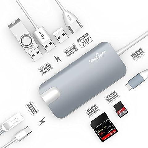USB C Hub, dootoper Câble typique C avec 3ports USB 3.0, port HDMI 4K, port Ethernet (1000MBit/s), sD-card, Micro SDHC et USB C ladeanschluss, pour terminaux USB avec Macbook Air, Macbook Pro, Mac Mini, Google Chromebook 2016 Space Gray