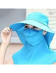 sombrero de la pesca Sombrero del sol del verano femenino de gran sombrero de ala ancha sol al aire libre del sombrero del sol de ciclismo UV que cubre sus copas cara
