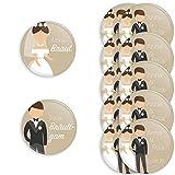 Werbewas 12er Set personalisierbare Buttons für Feierliche Anlässe - Hochzeit - JGA - Trauung - Taufe - Geburtstag (38mm) Motiv 10