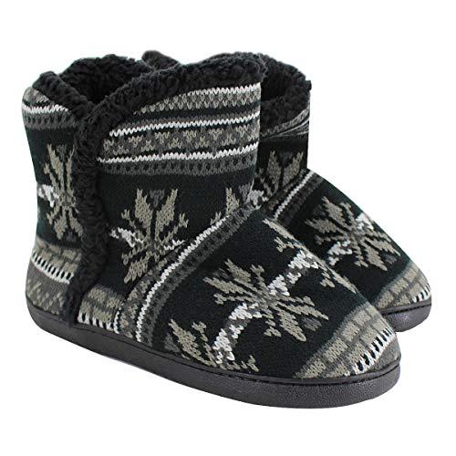 Milya Winter Damen Hohe Hausschuhe Schneeflocken Grau 40-41