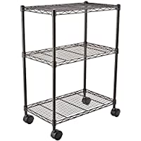 AmazonBasics 3-Shelf Shelving Unit on Wheels – Black
