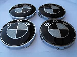 4x BMW BLACK CARBON FIBER Wheel Centre Caps/Hubs/Badges 68mm