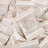 100 Stück kleine Päckchen Gummibärchen give-away - Geschenk SCHÖN DASS DU DA BIST BEIGE CREME-FARBEN WEISS Gastgeschenke Mitgebsel Hochzeit Geburtstag Fest Feier Gäste vintage
