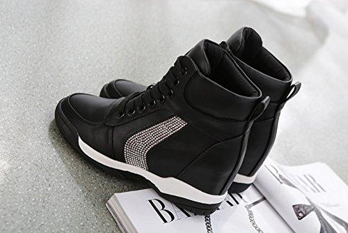 Dayiss Damen Sneaker Wedges Keilabsatz Stiefeletten Sportliche outdoor Turnschuh Schwarz