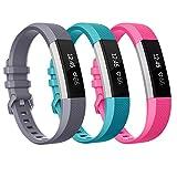 SnowCinda kompatibel mit Fitbit Alta HR Armband, Fitbit Alta Armbänder Weiches Verstellbares Sport Ersatz Bands Fitness Zubehör mit Metallschließe Grau Pink Grün L
