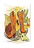 daawqee Tapestry Wall Hanging Western Collection Illustration of Old Wild West Elements with Rope Shoes And Silhouette of Cowboy Print Yellow Orange Wall Art for Living Room Bedroom Dorm Decor
