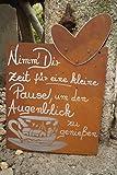 Edelrost Tafel Pause Spruch Garten Metall Tafel Rost Schild Text Herz Deko Tasse Gedichttafel