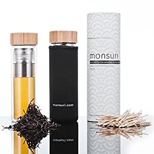 Tea Infuser and Fruit Infused Glass Water Bottle | BPA Safe, Portable and Refillable 450ml Travel Mug with Removable Stainless Steel Strainer / Filter and Sleeve | Doubled-Walled Infusion Tumbler, perfect as a Tea-pot for Green, Matcha Loose Leaf, Detox, Coffee or Thermal Flask to take on the go