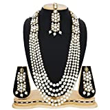 #8: The Luxor White Kundan Pearls Rani Haar Necklace with Maang Tikka Wedding Long Haram Bridal Jewellery Sets for Women and Girls-NK-2195