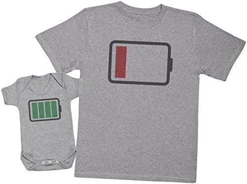 Zarlivia Clothing Low and Full Battery - Ensemble Père Bébé Cadeau - Hommes T-Shirt & Body bébé - Gris - S & 12-18 Mois