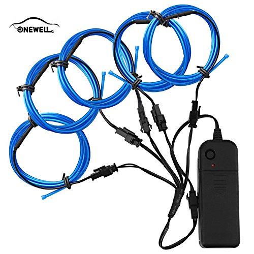 (5 X 1 Meter EL Wire Neon Glowing Strobing Licht mit AA Batterie Wechselrichter für Halloween Weihnachtsfeier Auto Dekoration (BLAU))