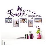 Grandora Wandtattoo Familie - Fotorahmen selbstklebend I violett (BxH) 84 x 49 cm I Aufkleber Sprüche für Wohnzimmer Modern Wandaufkleber W5000