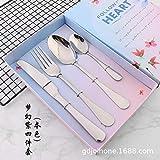 Set regalo di posate in acciaio inox dorato, stile western Tableware, Acciaio INOX, Moonlight Silver - Dream Purple Four-piece Set
