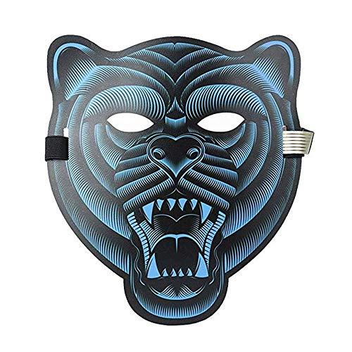 Sound Reaktive LED Halloween Masken,Saingace Sound Reactive LED Maske Tanz Rave Licht Einstellbare Maske Für Festival,Cosplay,Halloween,Kostüm,Batterie Angetrieben (F)