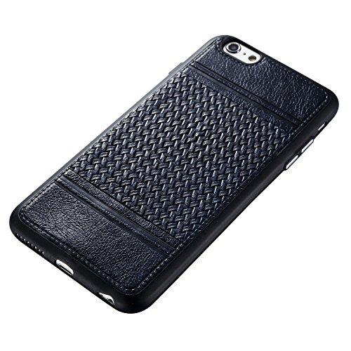 EKINHUI Case Cover Mischfarben Weaving Pattern PU Leder Skin Cover Shell Soft TPU / Silikon Rückseiten Cover Case für iPhone 6 & 6s ( Color : H ) B