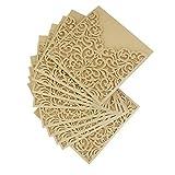 10Pcs Hochzeits-Einladungs-Karte, höhlen heraus dekorative Muster-Hochzeits-Geburtstags-Einladungs-Karte aus Grußkarte Glückwunsch-Karte mit Umschlag - 15 x 15 x 0.2cm