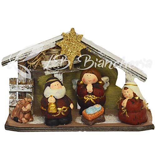 R.p. presepe completo in ceramica da tavolo - statuine natalizie presepe capanna nativita' - idea regalo natale