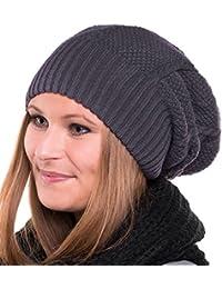 Long Beanie Strick Mütze - Trendige Strickmütze unisex Winter (dunkelgrau)