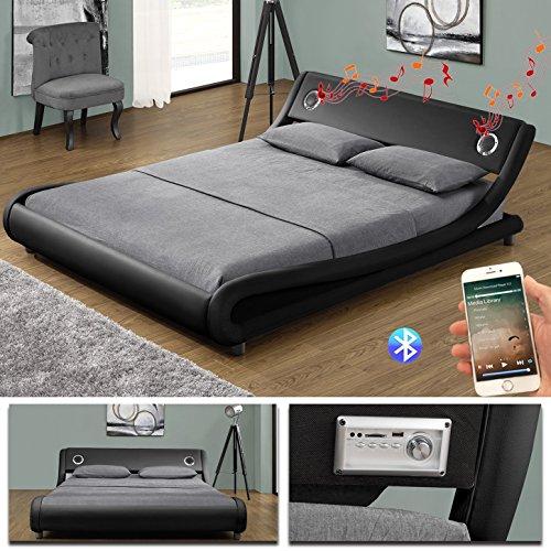 MEMPHIS Bluetooth Doppelbett Polsterbett Bettgestell Bett Lattenrost Kunstleder (160 x 200cm, Schwarz)