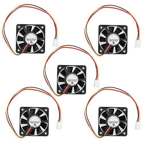 Hillrong 3 Pin CPU Cooling Fan Disipador térmico Enfriamiento 50 mm 10 mm 12 V para PC Ordenador (5pc) (Cpu Para Pc)