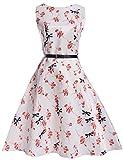 AGOGO Ragazza Palla Abito 1950 ragazza vestito vintage retrò volant sling hepburn stile vestito fiori vestito 2017 caldo (10-11 Anni, Schema 4)