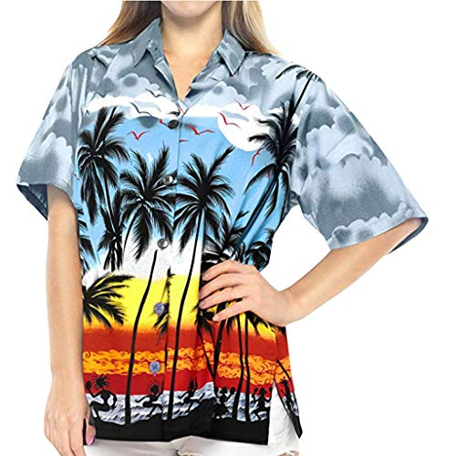 Muyise Sommer Plus Size Damen Urlaub Tops Jacke beiläufige lose kurzärmelige Taste Drucken Strandhemd Stehkragen Revers Shirt Oberteile(Grau,XXL) -
