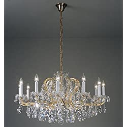 Kolarz Candelabros Maria Theresia 24 quilates oro a mano, Made in Italy, Made with Swarovski