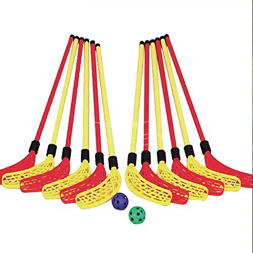 Hockey Goal Set, Team Mini Sports Kids Folding Beinhaltet 12 Knie-Hockeyschläger, 2 Hockeybälle Perfekt für Indoor- oder Outdoor-Spiele! -
