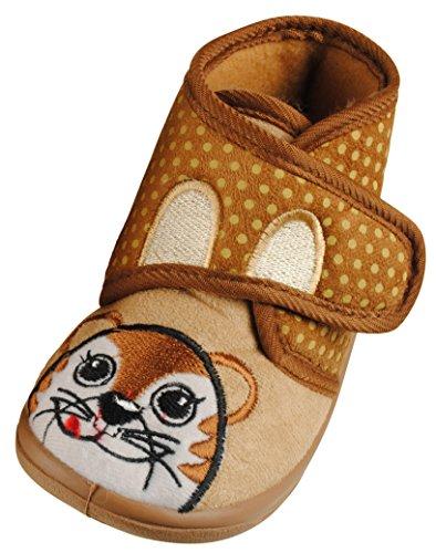 Immerschön Kinder-Hausschuhe in vielen Farben Schlappen Pantoffeln für Mädchen und Jungen beige Katze Pünktchen Gr. 26