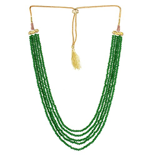 Aradhya Five Layer Grass Green Color Crystal Beads Necklace for Women and...