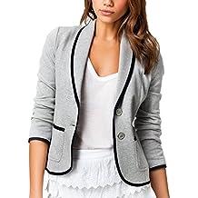 DELEY Mujeres Otoño Slim Fit Elegante Oficina Negocios Parte Superior Blusa Traje de Chaqueta Outwear