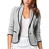 DELEY Mujeres Otoño Slim Fit Elegante Oficina Negocios Parte Superior Blusa Traje de Chaqueta Outwear Gris Tamaño L